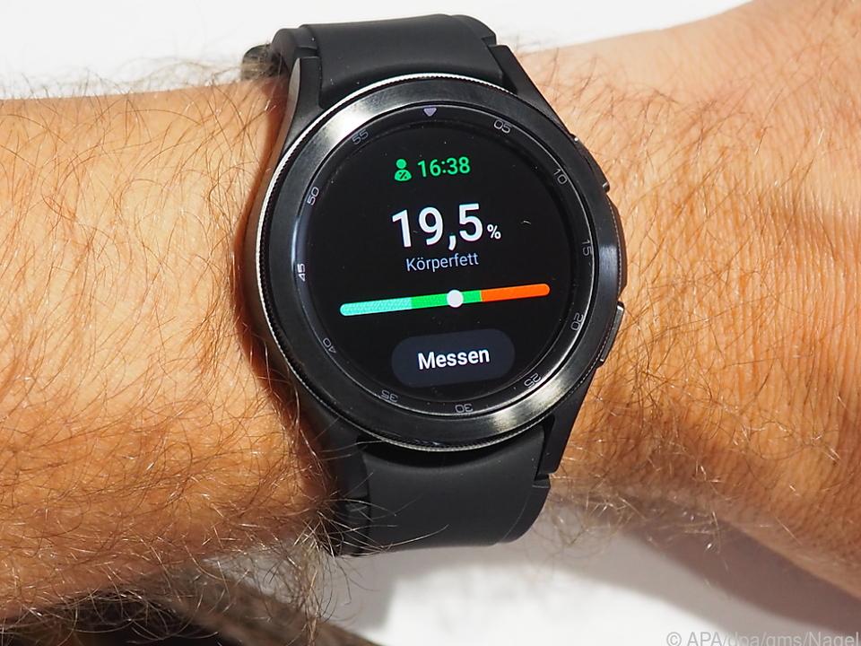 Der neue Biosensor der Galaxy Watch 4 gibt Auskunft: 19,5 Prozent Körperfettanteil