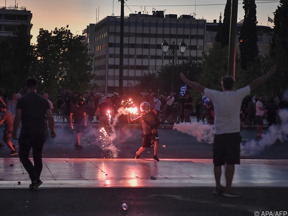 Es kam in Athen auch zu Zusammenstößen mit der Polizei