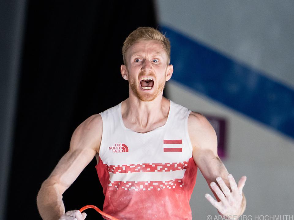 Jakob Schubert, als er den Gewinn der Bronzemedaille realisiert