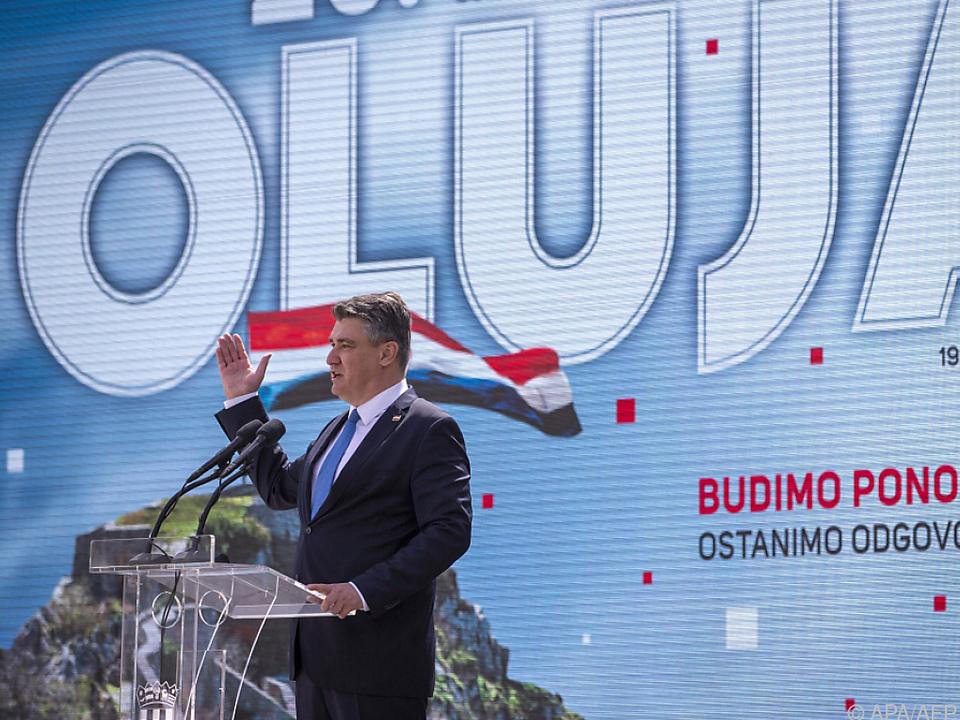 Kroatischer Präsident Milanovic bei Feier in Knin