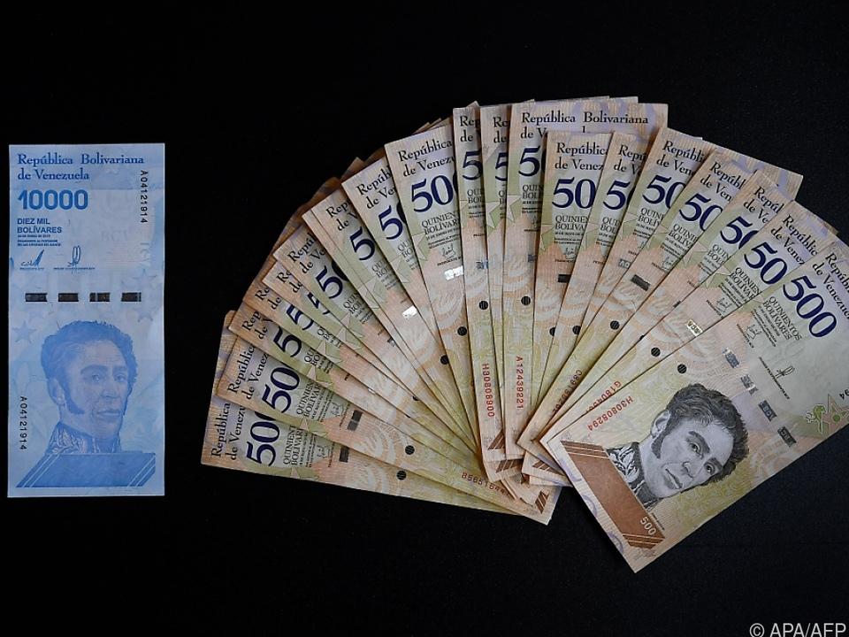Venezolanische Bolivar-Banknoten 2019. Damals war 10.000er neu