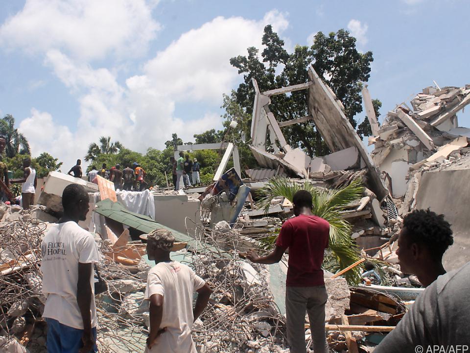 Zerstörte Gebäude in Haiti