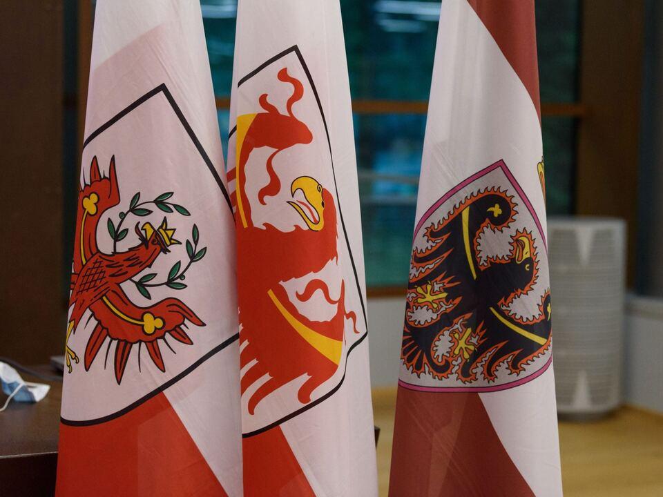 euregio In der Europaregion werden künftig auch die Gemeinden mitreden. Südtirols Mitglieder im Rat der Gemeinden der Euregio hat die Landesregierung heute benannt. 20210822_EuregioFahnen_01_PenasaGianni