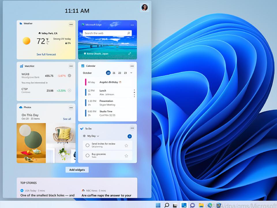 Wie auf dem Smartphone: Zum Desktop lassen sich Widgets hinzufügen