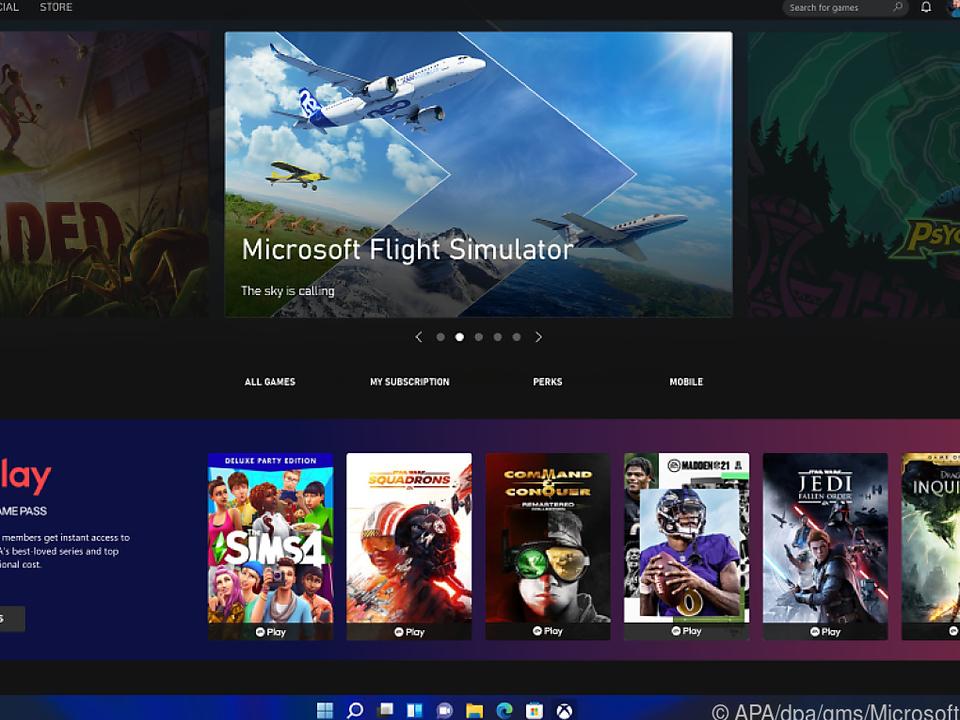 Xbox-Abo Game Pass (Bild) und Teams werden in Windows 11 integriert