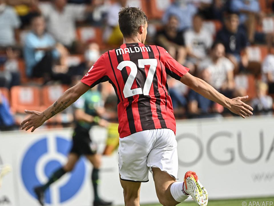 Daniel Maldini feiert sein erstes Tor in der Serie A