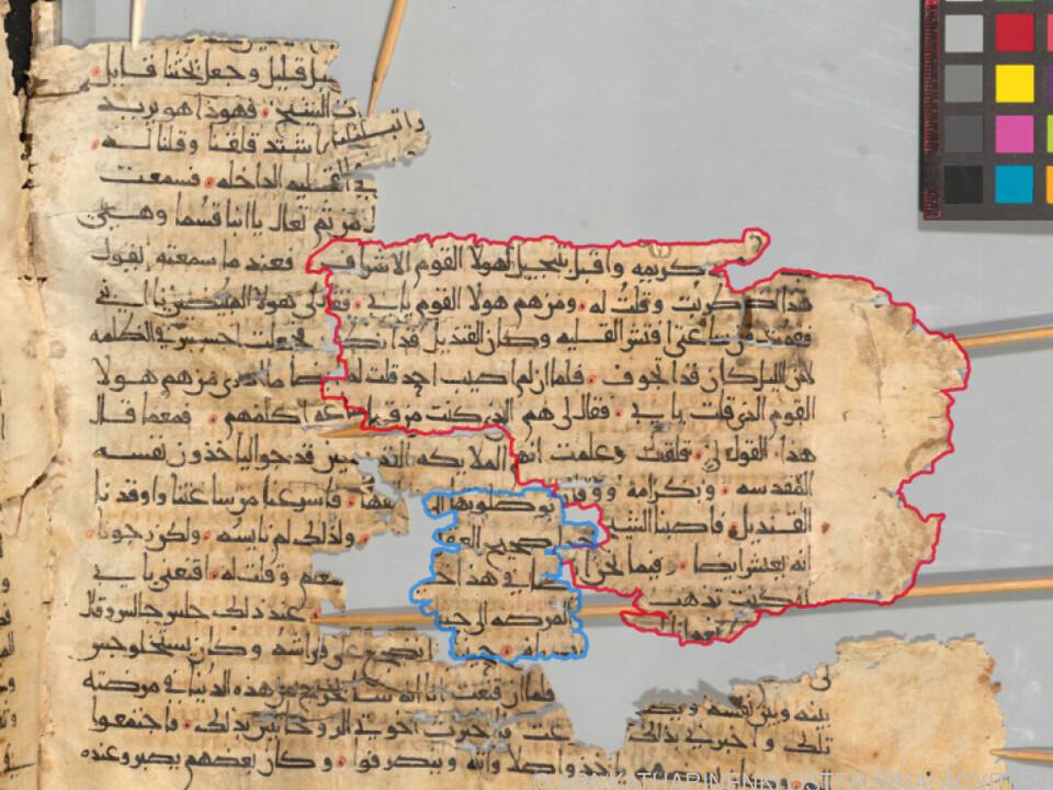 Fragmenten einer ausradierten Schrift auf Pergamentblättern
