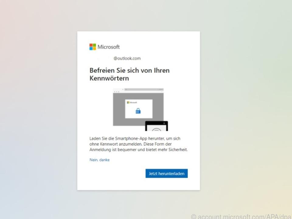 Microsoft wirbt mit einem Pop-up fürs kennwortlose Konto
