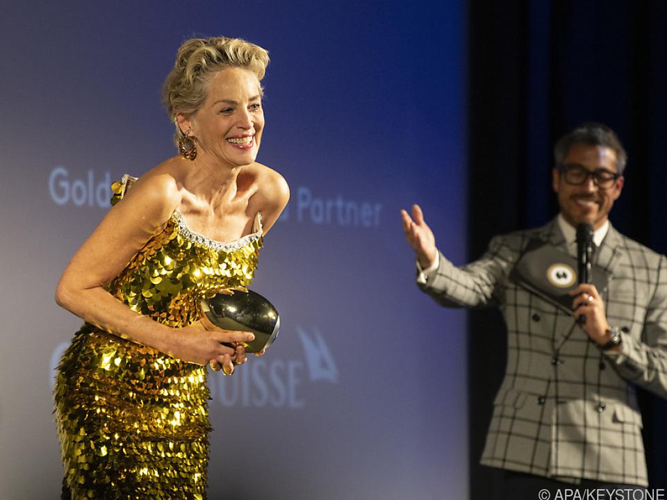 Sharon Stone mit ihrem Golden Icon Award