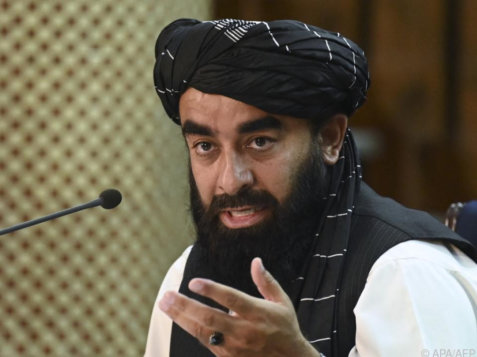 Taliban-Sprecher  Zabihullah Mujahid verkündet Einigung auf Regierung