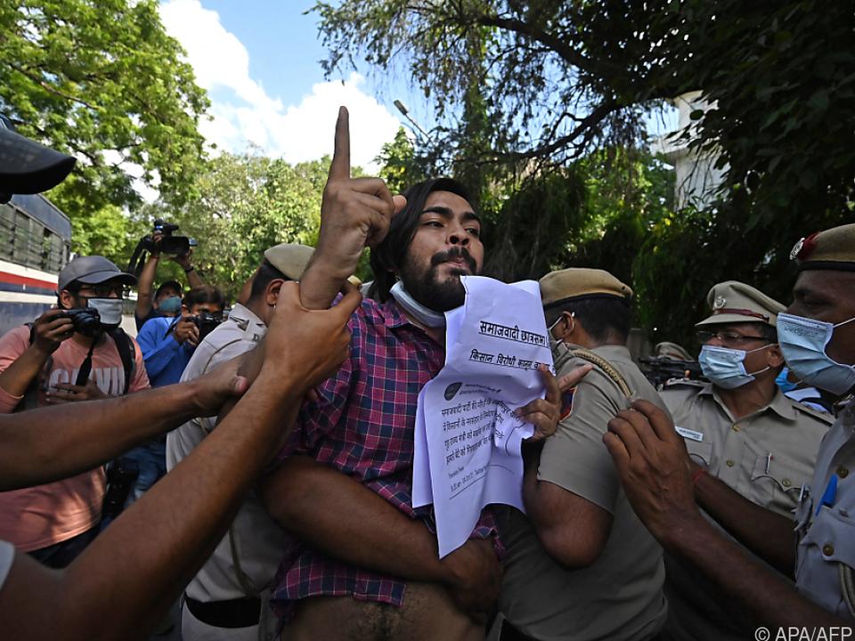 Die Gewalt in Lakhimpur zog wiederum Proteste in Neu-Delhi nach sich
