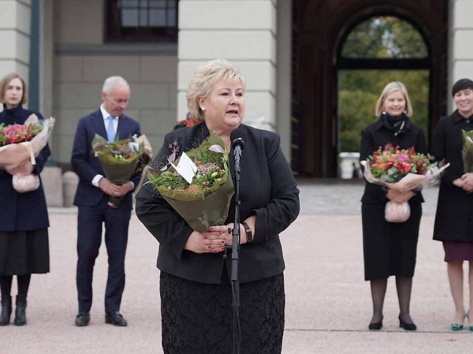 Die scheidende Regierungschefin Erna Solberg gedachte der Opfer