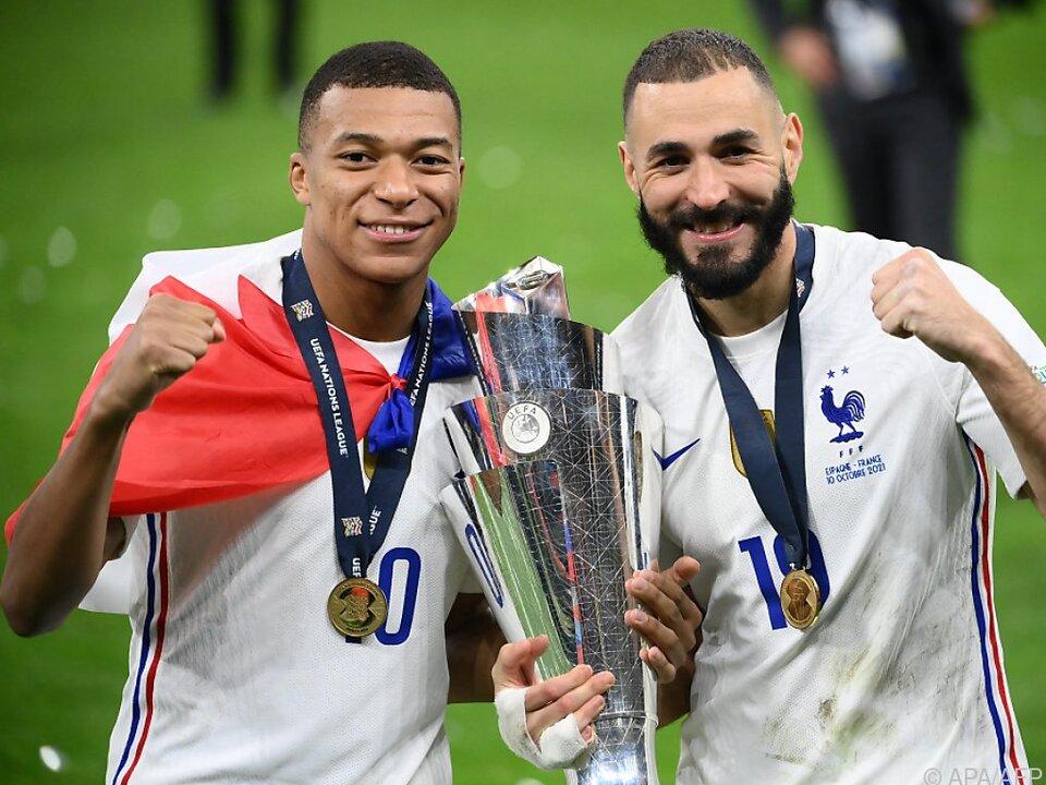 Frankreichs Matchwinner in der Nations League: Mbappe (l) und Benzema