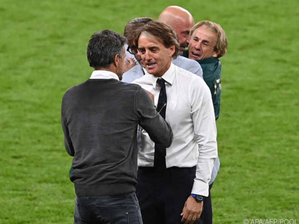 Im Juli trafen Roberto Mancini (r.) und Luis Enrique schon aufeinander